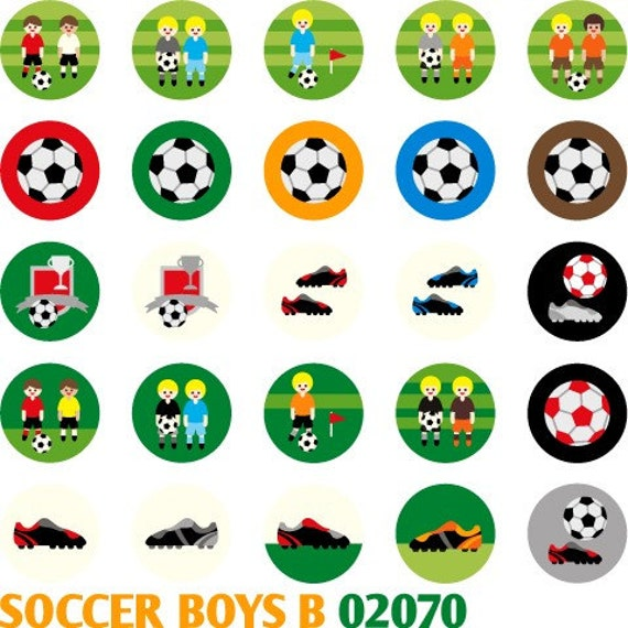 """Soccer Boys B 02070 - Cute Printable Circle 1.313"""" -  Digital Collage Sheet - Images for badge button, magnet"""