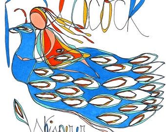 peacock whisperer. colorful print. rachel awes.