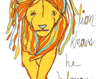 the lion knows he belongs. colorful print. rachel awes.
