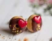 Red Heart Donuts - Valentine's Day Earrings - Miniature Food Jewelry