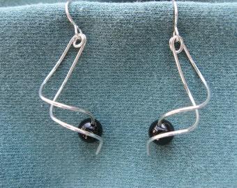 Twist Sterling Silver Earrings With Black Onyx