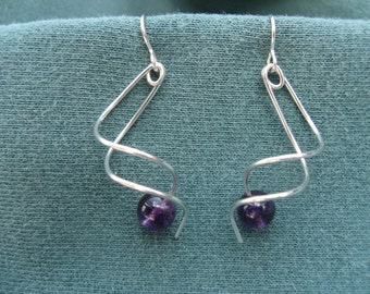 Twist sterling and amethyst earrings