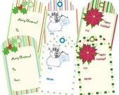 Printable Christmas Gift Tags - PDF - Snowman, Holly, Poinsettia