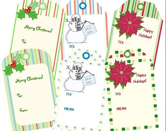Printable Christmas Gift Tags, Printable PDF, Snowman, Holly, Poinsettia, Instant Download
