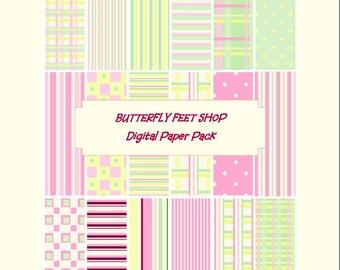 Pink Plaid Digital Paper, Pastel Pink and Green, Scrapbooking, Card Making, Printable PDF, Instant Download