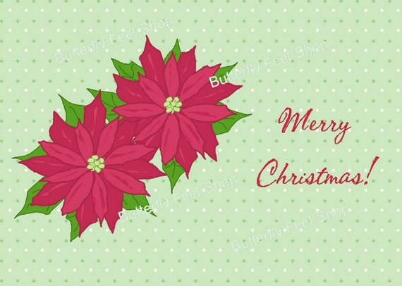 Christmas Card Making Kit, Printable PDF - Poinsettia - Scrapbooking, Holiday Paper Crafts, Instant Download