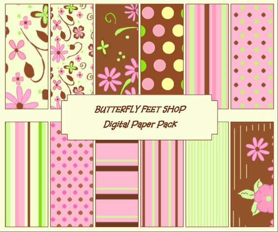 Floral Digital Paper - Pink, Green, Brown - Flowers, stripes, dots - Printable PDF, Instant Download