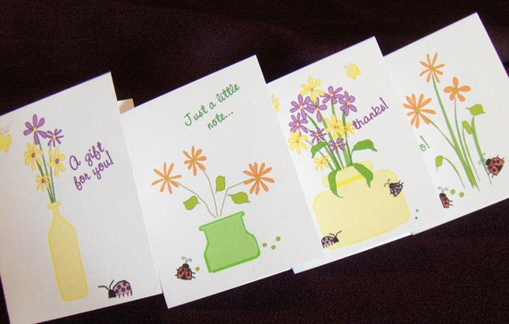 Mini Note Cards - Flowers and Ladybugs - Printable PDF - Printable Stationery - Instant Download