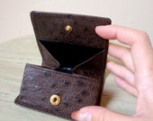 Ostrich Leather Coin Case / Wallet - Dark Brown