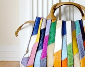 Ostrich Leather Multi-Color Tote Bag