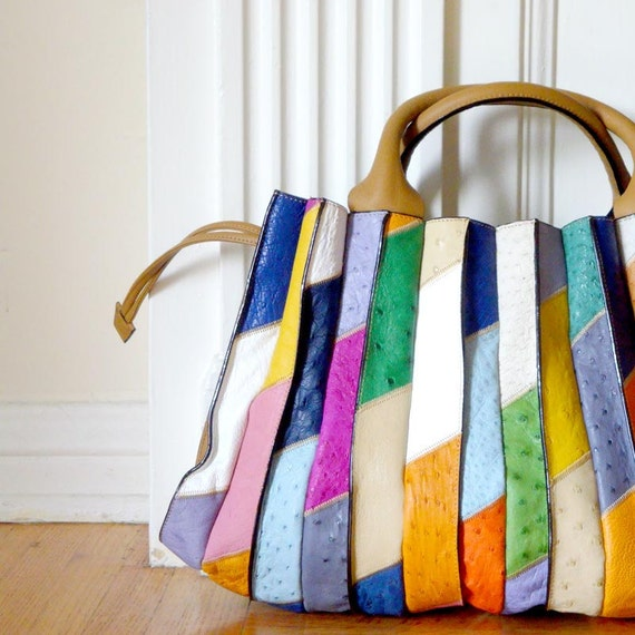 Ostrich Leather Multi-Color Tote Bag