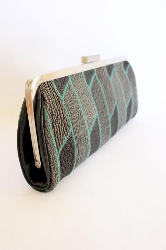 Framed Shark Leather Clutch Black Grey Green