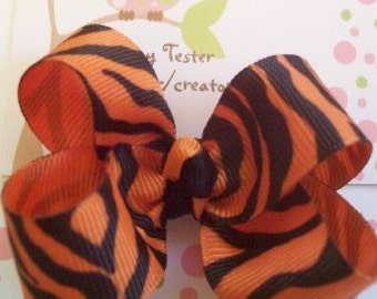 Orange and Black Hair Bow clippie Bengals, Bearcats, Tigers ready to ship