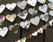 Small Kids Book Heart Garland - Reclaimed - Ecofriendly - Recycled