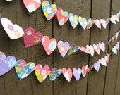 Small Origami Paper Heart Garland - Reclaimed - Ecofriendly - Recycled