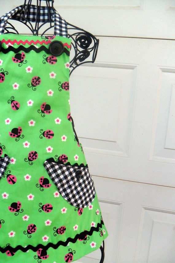 Reserved Apron Reversible Lady Bugs for Little Girl