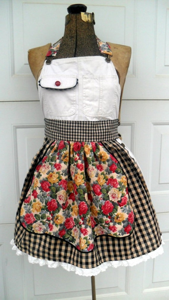 Upcycled French Country Apron for Women