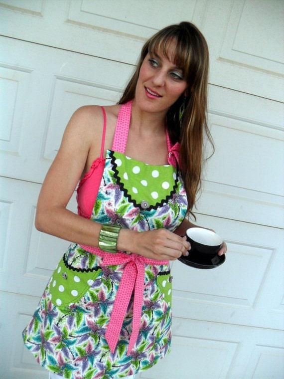 Reversible Retro Modern Full Apron for Women Lime Green Polka Dots