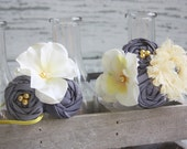 Yellow and Grey silk flower and rosettes headband set