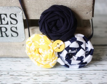 Yellow to the navy triple rosette headband