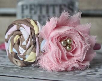 Neapolitan chiffon flower & rosette headband