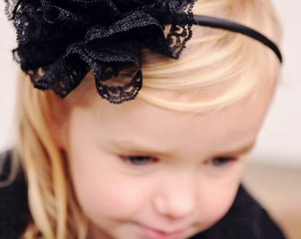 Black Lace Bloom -- headband, clip or pin