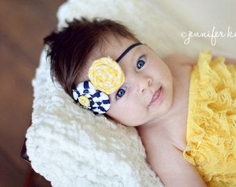 Yellow to the navy double rosette headband