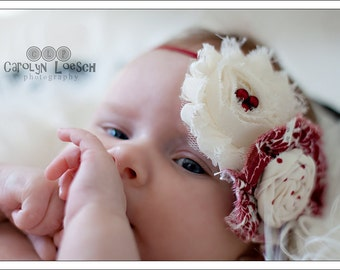 Lydia- red and ivory vintage inspired headband