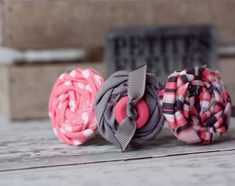 Pink Summer Days-- triple rosette headband