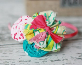 Bloom- frayed fabric ruffle & rosette headband