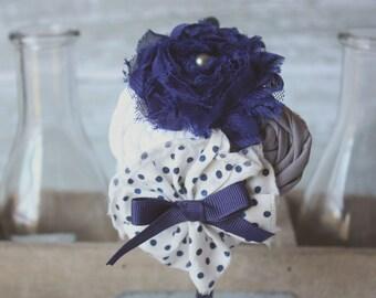 Regal and Royal- fabric ruffle, chiffon flower and rosette headband
