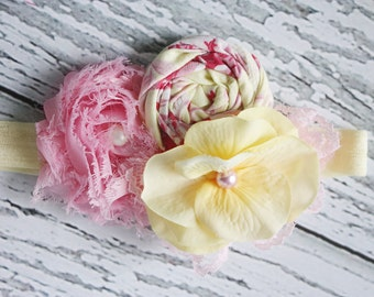 Spring Fling- pink and yellow chiffon flower, rosette and lace headband