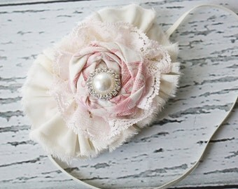 Sweetness - light pink ruffle and rosette with lace headband