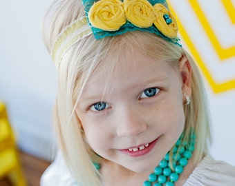 Finley- yellow and aqua triple rosette headband with lace