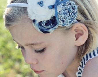 Just a Little Blue- rosette and chiffon flower headband