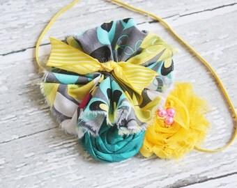 Top Notch- bright yellow and aqua ruffle, chiffon flower and rosette headband