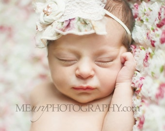 Miss Lennox- chiffon and lace ruffle & rosette headband