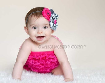 Dovey- bright pink and grey chiffon flower & rosette headband