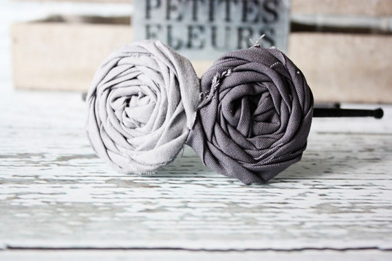 Greyed two tone solid color double fabric rosette headband