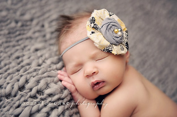 Reese- grey and yellow Delia style flower and rosette headband