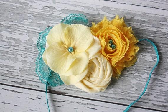 Chickie- yellow and aqua rosette, chiffon flower and silk flower headband