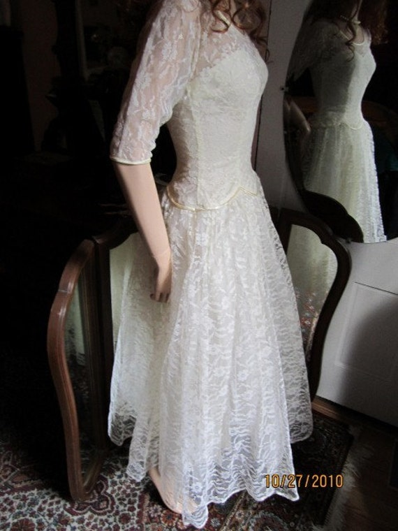 Non Traditional Wedding Dress Lace : Vintage off white lace non traditional wedding dress sz small
