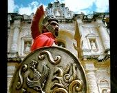 Original Fine Art Roman Soldier Color Photograph - The Guardian - Guatemalan Semana Santa Guard Cibachrome Slide Film - Charity Donation