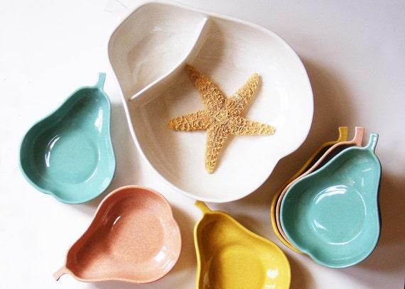 Serving Bowl Set Pears by Pfaltzgraff 50s