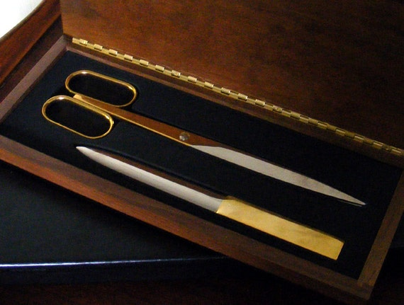 Modern Desk Set Scissors and Letter Opener marked Solingen Germany in a Walnut Box