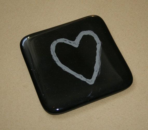 Black Heart Single Coaster
