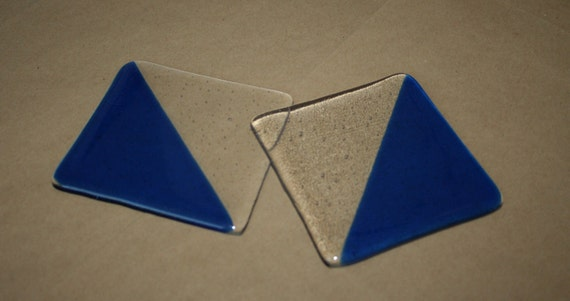 Blue and Clear Diagonal Stripe Coasters