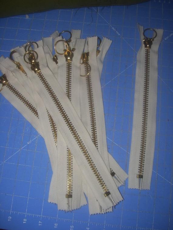 Lot of 12  Beige Brass Heavy DUty Zippers 12 inch 10 inch