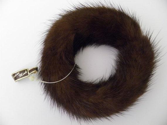 Vintage Genuine Mink Fur Bangle Bracelet - Dark Chocolate Color