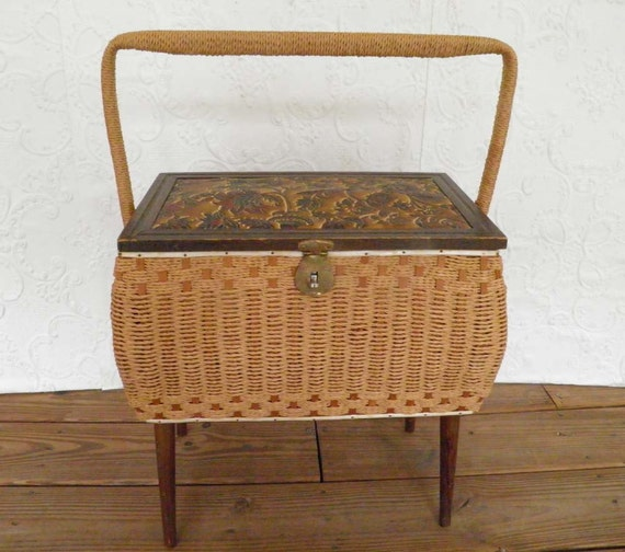 Vintage Wicker Sewing Basket With Legs